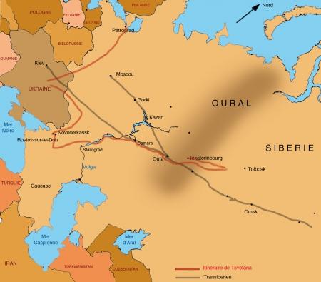 Carte Russie avec parcours de Tsvetana